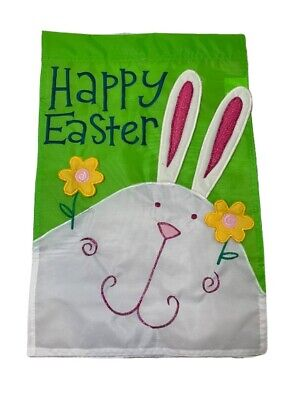 Pier One 1 Imports Garden Flag Happy Easter Bunny Eggs Green Excellent Conditoon
