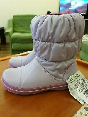 Crocs Kids Winter Puff Boot Lavender UK J3 EU 34-35
