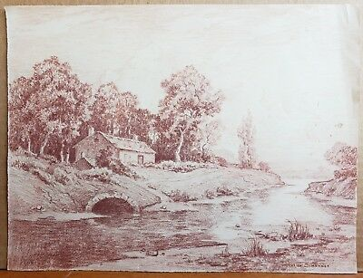 Lucien Simonnet Red Chalk Drawing Sevres France Antique French Art