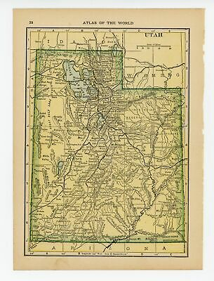 1911 Hammonds Atlas Vintage Map Pages - Idaho map on one side and Utah map on...