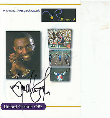 LINFORD CHRISTIE - HAND SIGNED signed 8x6 - Olympic gold medalist