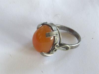 Vintage Antique Art Deco Baltic Amber Lady's Silver Ring