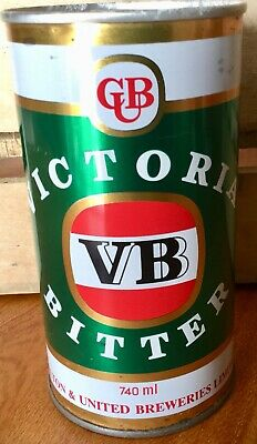 VB. Victoria Bitter. 740ml. Straight Steel. Beer Can.