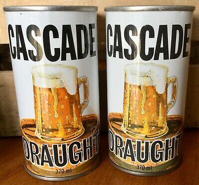 Cascade Draught. 370ml. Light & Dark Printed Straight Steel. Beer Cans x 2