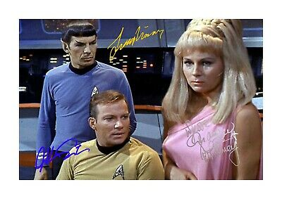 Star Trek Spock Kirk A4 reproduction autograph poster with choice of frame