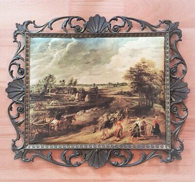 Vintage/Mid Century *LARGE BRASS & SILK WALL HANGING* made ITALY - Harvest Scene