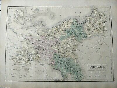 1844 ? Black Map of Prussia antique