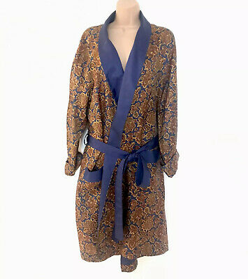 Mens Vintage Paisley Silky Smooth Dressing Gown Robe Paisley Design St Michaels