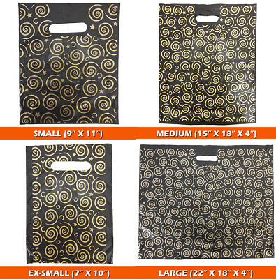 """Strong Black & Gold Printed Carrier Bags Fashion Gift Designer Small (9"""" x 11"""")"""