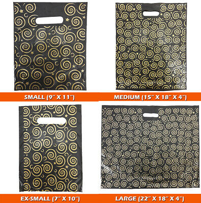 200x Strong Black & Gold Printed Carrier Bags Fashion Gift Designer Jewellery