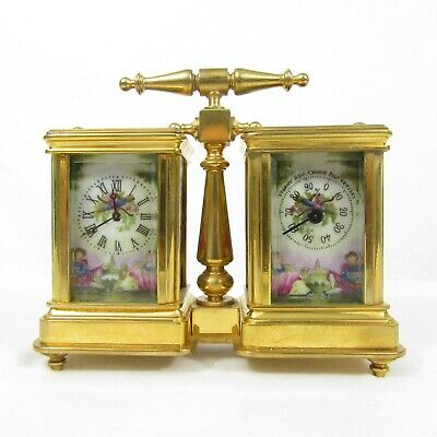 DW20/CL17.Antique Miniature Double Porcelain Brass Carriage Clock Barometer