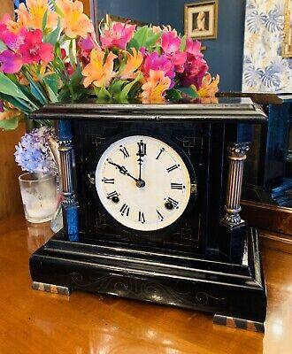 Extremely rare Mid 19thC mantle clock by Waterbury Clock Co of Connecticut USA