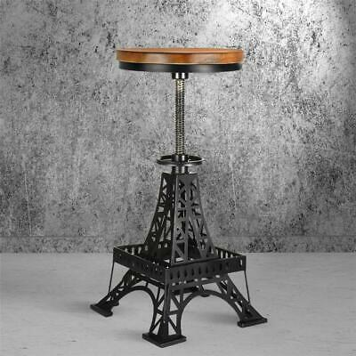 Bar Stool Chair Vintage Unique Industrial Iron Tower Black Round Wooden Top