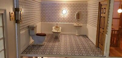 x4 Sheets 1/12th Self Adhesive Dolls House Clover Tiled Effect  Floor paper,