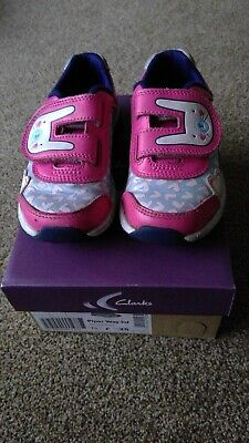 Clarks Piper Way Infant leather pink combi trainers size 7.5 F