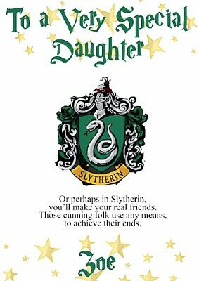 Slytherin Hogwarts Harry Potter Inspired Personalised Card Any Name Any Age