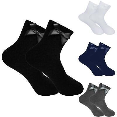 Girls Plain Ankle Socks Back to School with Satin Bow Children Kids 3 & 6 Pack