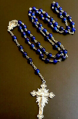 Vintage Blue Purple Bead Rosary Silver Tone Crucifix & Sacred Heart Jesus Center