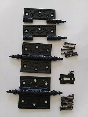 "Pair Antique Steeple Tip Door Hinges Ornate Victorian 3"" x 3"" Cast Iron Restored"