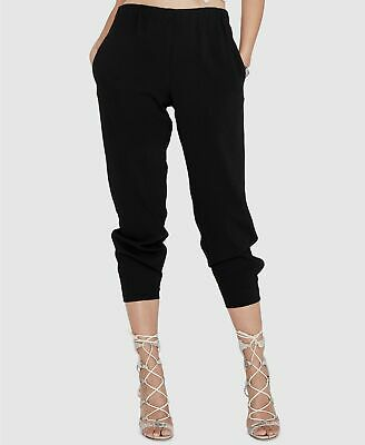 New $229 Rachel Roy Women's Black Mid-Rise Pull-ON Cropped Casual Pants Size L