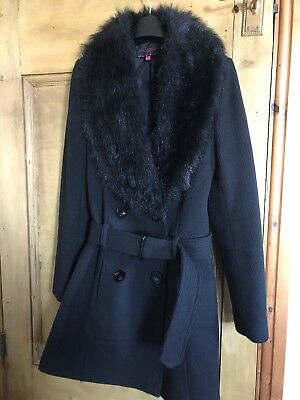 Ladies  Parka Smart Jacket Black from New Look size 8 faux fur collar vgc Asos