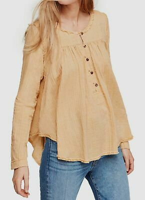 $220 Free People Womens Beige Super Soft Brushed Cotton Sand Dune Tunic Size M