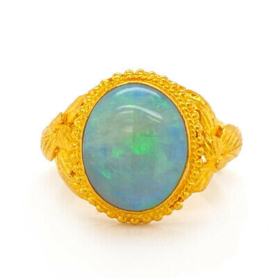Solid 24K Yellow Gold Vintage Genuine Opal Ring 5.9g