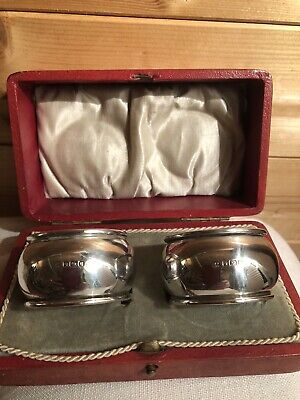 Hm Silver Napkin Rings Sterling Sheffield 1912 Deakin & Sons Boxed Pair
