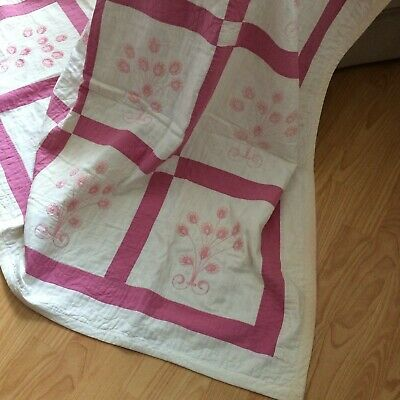 "Vtg quilt hand quilted ivory pinks embroidered floral 83x61"" SHAB COT FARM CHIC"