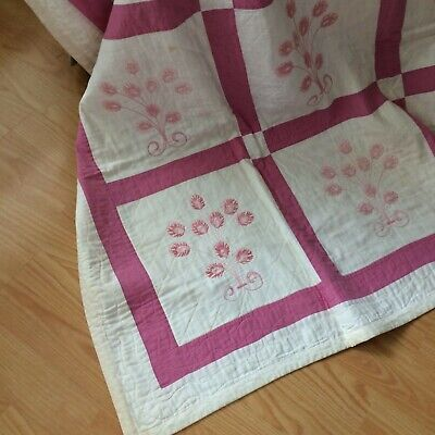 "Vtg quilt hand quilted ivory pinks embroidered floral 80x60"" SHAB COT FARM CHIC"