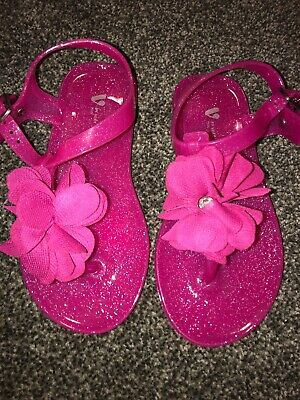 Girls Pink Glitter Flower Jelly Shoes Infant Size 8 Brand New