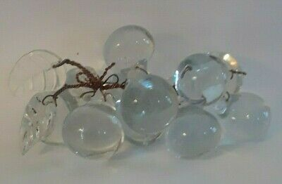 Vintage Mid -Century Hand Blown Glass Grape Cluster /  12 Grapes With Two Leaves