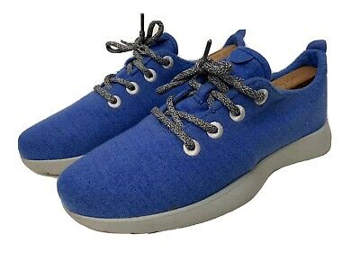 Allbirds Mens Sz 8 Royal Blue Gray Wool Runners Sneakers Lace Up Running Shoes