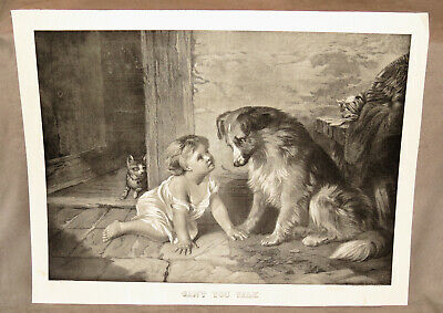 Can't You Talk By George Holmes Child And Border Collie Dog Vintage Print 16X21