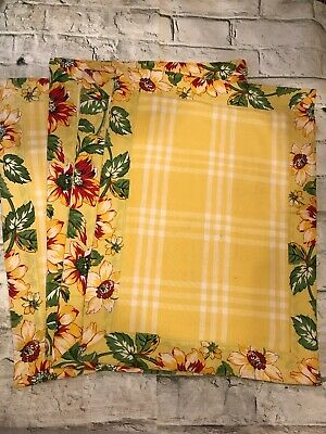 Williams Sonoma Floral Border Yellow Provence French Country 4PC Placemats NEW!