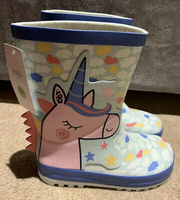 BRAND NEW M&S Girls Unicorn Wellies Size UK 11 EU 29 Wellington Boots BNWT