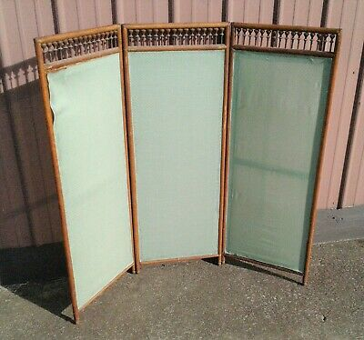 Antique Oak Victorian Dressing Screen Room Divider Tri Fold 1890s Era