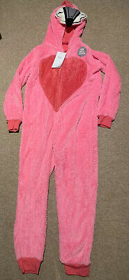 *New* M&S Girls Fleece Flamingo Pink Hooded All In One Age 9-10 Bnwt Onesy