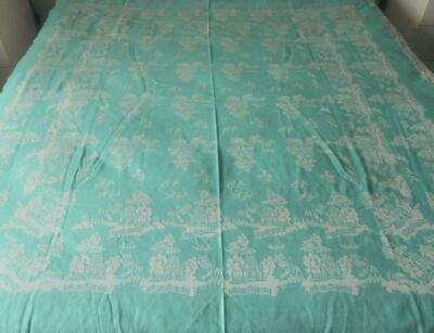 Vintage 1960'S Cotton Damask Table Cloth Green Willow Pattern 136 X 157 Cms