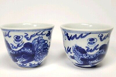 Pair Antique Chinese Blue & White Porcelain Tea Cups Foo Fu Dogs Lions