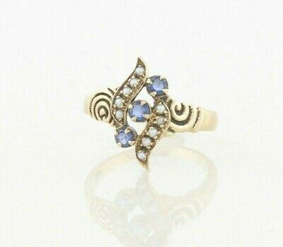 9k Yellow Gold Natural Sapphire and Seed Pearl Ring Size 7.5 Antique Victorian