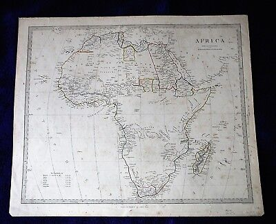 ca 1850s antique MAP AFRICA whole continent + Madagascar SDUK LARGE