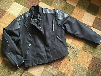 Unik Leather Apparel Motorcycle Jacket Black Large Leather Accents Quilted Liner
