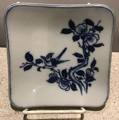 "Vintage OMC 4.5"" blue white bird on branch square plate Japan"