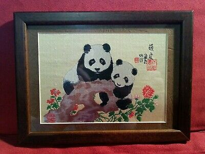Panda Bear Woven Art Sew Display Chinese Collectible Memorabilia Gift Present