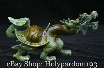 """10"""" Chinese Old Xiu Jade Jadeite Carved Dragon tortoise Turtle lucky Statue Pair"""