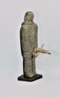 """Inuit Art Soapstone carving Serpentine, inuk 4"""", with spear, COA, Tooktooklook"""