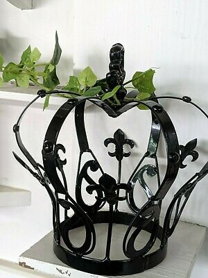French style Decor  crown antique BLACK child size NEW wrought iron.