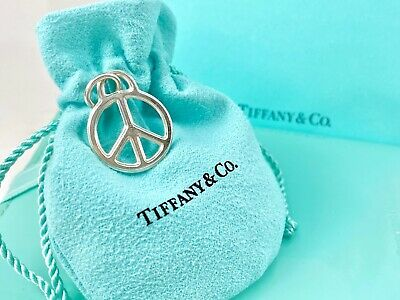 RARE Tiffany & Co Sterling Silver Lg Peace Sign Circle Charm Pendant w Pouch 201