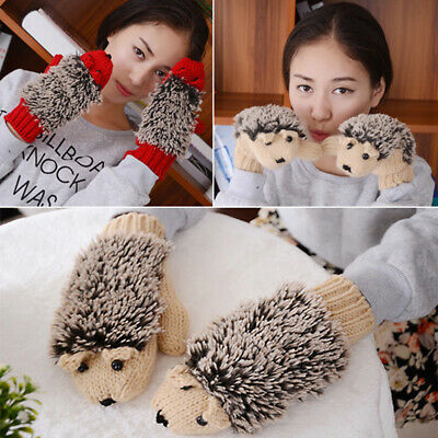 Cy_ Women Cartoon Hedgehog Animal Winter Warm Knitted Gloves Full Finger Mittens